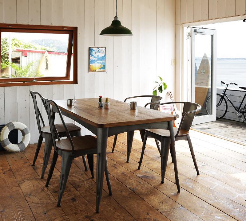 ダイニングセット 5点 4人用 おしゃれ かっこいい カフェ 系 ヴィンテージ カントリー 調 ダイニング 5点セットC(テーブル幅150+ラウンドフレームチェア×2+アイアン フレームチェア×2) ウォールナット ブラウン 茶色