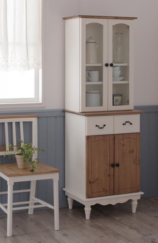 食器棚 キッチンストッカー カントリー 姫系 かわいい 可愛い アンティーク カップボード ホワイト 白