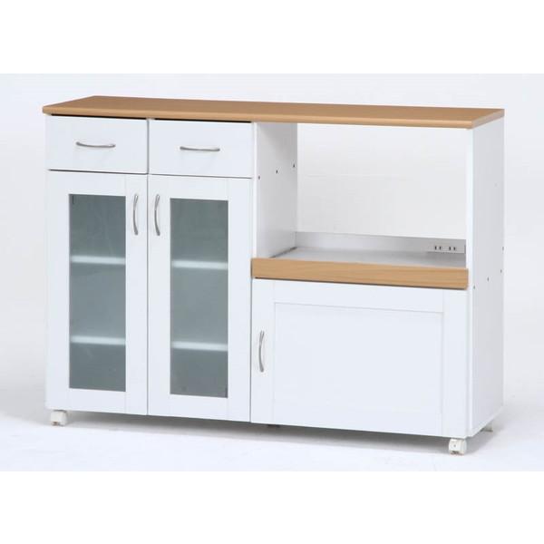 ミニ食器棚 小型 コンパクト ワゴン 食器棚 低い ラック 収納 キャビネット テーブル 台 カップボード 調味料ラック スパイスラック ナチュラル ホワイト 白