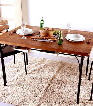 ダイニングテーブル おしゃれ 安い 北欧 食卓 テーブル 単品 4人用 四人用 3人 120×80 ヴィンテージ ウォールナット アイアン脚 棚 2段 机 会議用テーブル カフェテーブル ミーティングテーブル