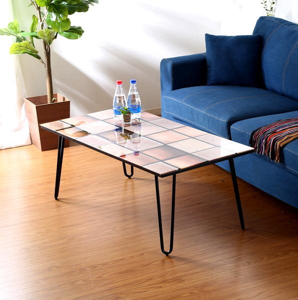 センターテーブル ローテーブル おしゃれ 北欧 木製 リビングテーブル コーヒーテーブル 応接テーブル デスク 机 木製モザイク 幅105 奥行55 高さ41