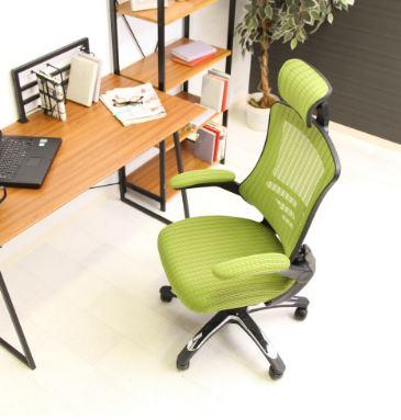 オフィスチェア 事務椅子 キャスター付き椅子 キャスター 椅子 チェア ハイバック グリーン 緑 デスクチェア 肘付き椅子 肘掛け椅子 肘置き 肘付 肘掛