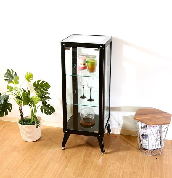 コレクションケース キャビネット ガラス ショーケース アンティーク 薄型 フィギュア ディスプレイ 棚 ディスプレイケース コレクションラック ブラック 幅40 奥行40 高さ105