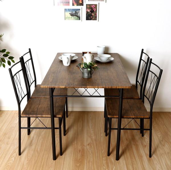 ダイニングセット ダイニングテーブルセット おしゃれ カフェ モダン 安い 北欧 ダイニングチェア 椅子 アンティーク 木製 シンプル ブラウン×ブラック 幅110 奥行70 高さ75