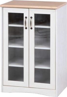 ナチュラル/ホワイト 白 本棚 扉付 扉付き 食器棚 低い ミニ ミニ食器棚 北欧 おしゃれ