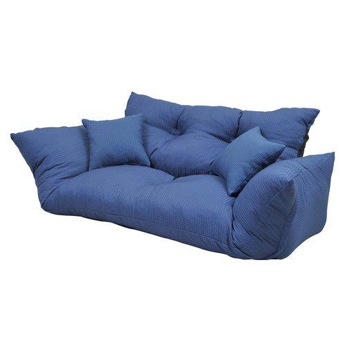 ローソファ 2人掛け リクライニング カウチソファ ネイビー ブルー 青 ( ソファ 座椅子 低い ソファー 椅子 低い椅子 )