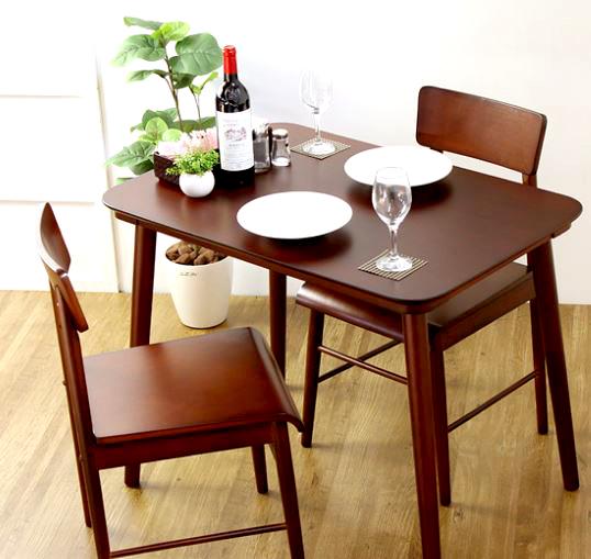 ダイニングテーブルセット ダイニングセット おしゃれ 安い 北欧 食卓 2人用 二人用 コンパクト 小さめ 一人暮らし 90×60 椅子 2脚 天然木 ブラウン カントリー