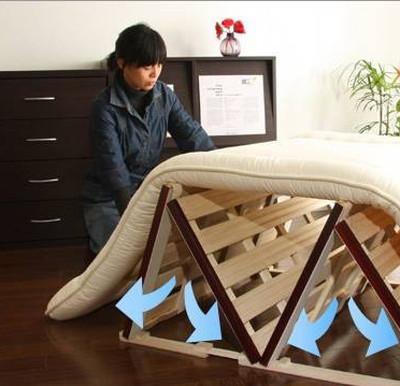 すのこベッド 木製 折りたたみ シングル 通気性 四つ折り 桐 布団干し 室内干し コンパクト 小さい スリム 防カビ 軽量 すのこマット カビ 床板 のみ 和室 ローベッド ロータイプ フロア 低床