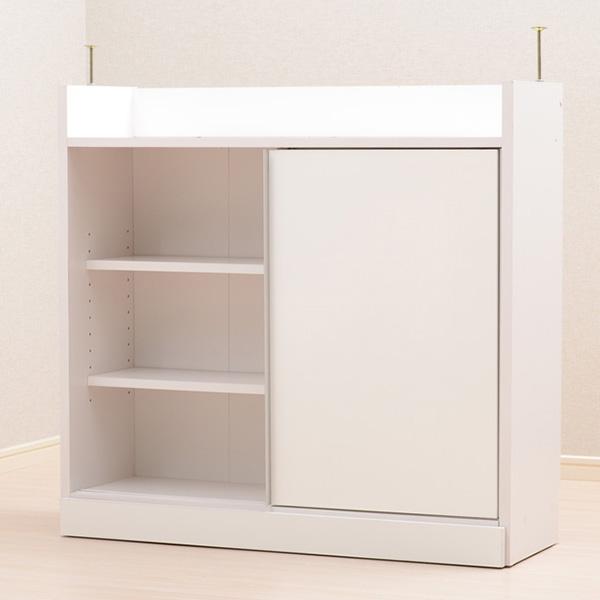 食器棚 おしゃれ 北欧 安い キッチン 収納 棚 ラック 木製 レンジ台 ロータイプ コンパクト ミニ 調味料 小型 小さいサイズ 一人暮らし 大容量 約 幅90 スリム 薄型 奥行30 白 カウンター ワイド
