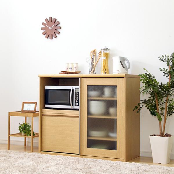 食器棚 おしゃれ 北欧 安い キッチン 収納 棚 ラック 木製 レンジ台 ロータイプ コンパクト ミニ 調味料 小型 小さいサイズ 一人暮らし 大容量 約 幅105 カウンター スライド 炊飯器置き場 約 奥行45 カントリー ワイド コンセント 作業台