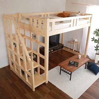 木製 おしゃれ 子供 丈夫 システムベッド すのこ シングルベッド 階段付き 安全 階段 大人用 姫系 宮付き 子供部屋 ロフトベッド 階段式 宮
