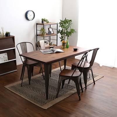 ダイニングテーブルセット ダイニングセット おしゃれ 安い 北欧 食卓 4人用 四人用 3人 140×80 椅子 4脚 白 アイアン ヴィンテージ ブラック 白