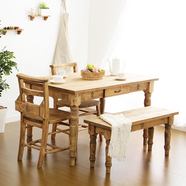 ダイニングテーブルセット ダイニングセット おしゃれ 安い 北欧 食卓 4人用 四人用 3人 120×75 椅子 2脚 ベンチ 1脚 カントリー ナチュラル カントリー