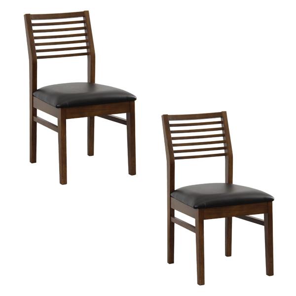 ダイニングチェア 椅子 おしゃれ 北欧 安い 2脚 二脚 セット クッション 座布団 座り心地 アンティーク ウォールナット ウォルナット 木製 黒 ブラック シンプル レザー 合皮 座面高め
