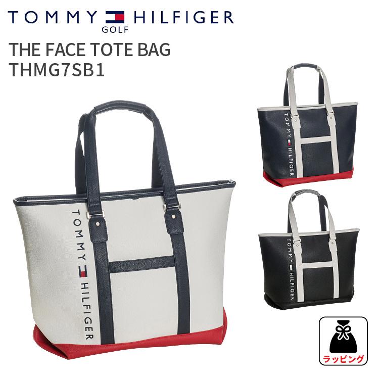 トミーヒルフィガーゴルフ トートバッグフェーストートバックTHE FACE TOTE BAG THMG7SB1TOMMY HILFIGER GOLFトートバック 合皮 鞄 A4対応ホワイト ネイビー ブラック