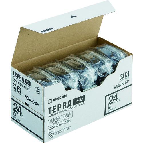 (株)キングジム キングジム テプラPROテープカートリッジ テープ色:白 文字色:黒(SS24K-5P)