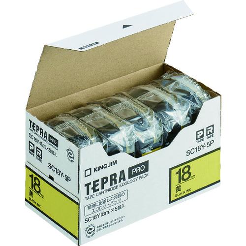 (株)キングジム キングジム テプラPROテープカートリッジ テープ色:黄 文字色:黒(SC18Y-5P)