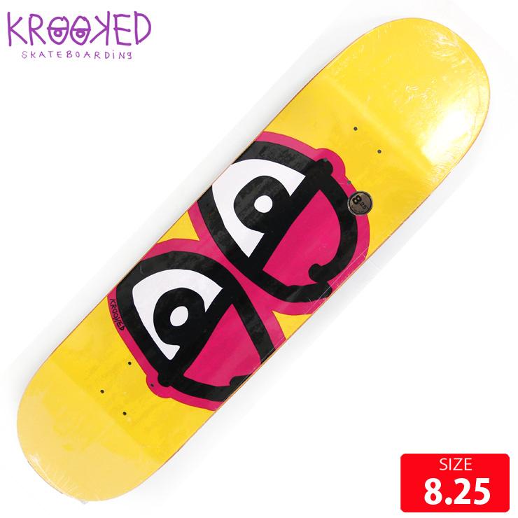KROOKED クルーキッド デッキ TEAM EYES YELLOW DECK 8.25 スケートボード SKATEBOARD クルックド