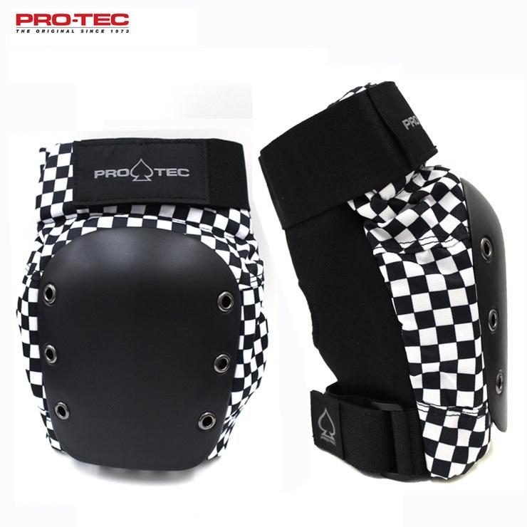 プロテクターいえばプロテック PROTEC プロテック プロテクター ニーパッド STREET BLACK インライン用 CHECKER スケートボード KNEE 半額 クエストン 買取 スケボー