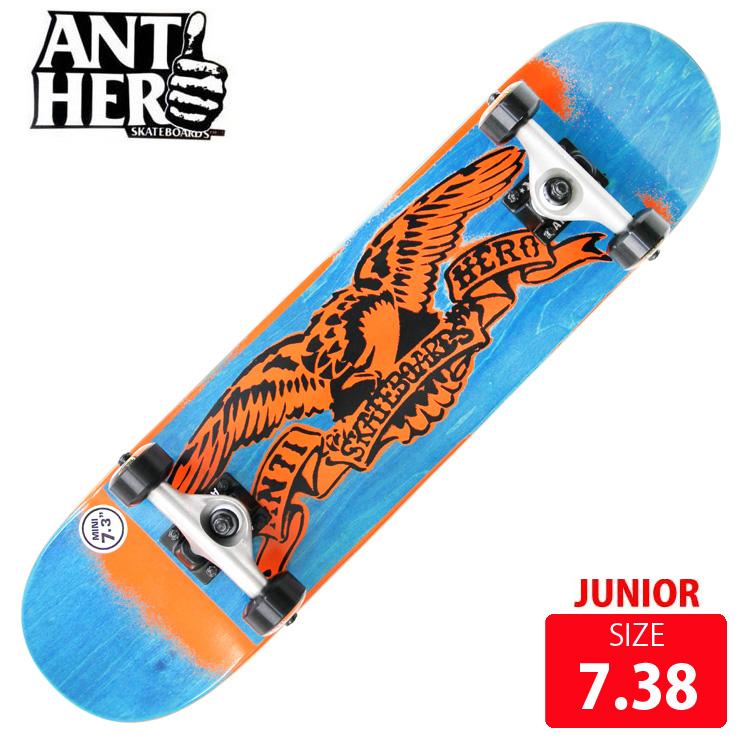 スケボー コンプリート ANTI HERO アンチヒーロー STENCIL EAGLE MINI DECK 7.38 ANC-022 完成品 スケートボード