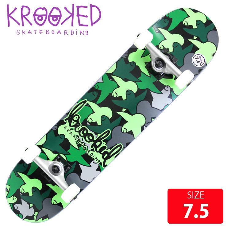 KROOKED クールーキッド コンプリート BIRDCAMO SM DECK 7.5 インチ KKC-015 完成品 組立て済 スケートボード スケボー