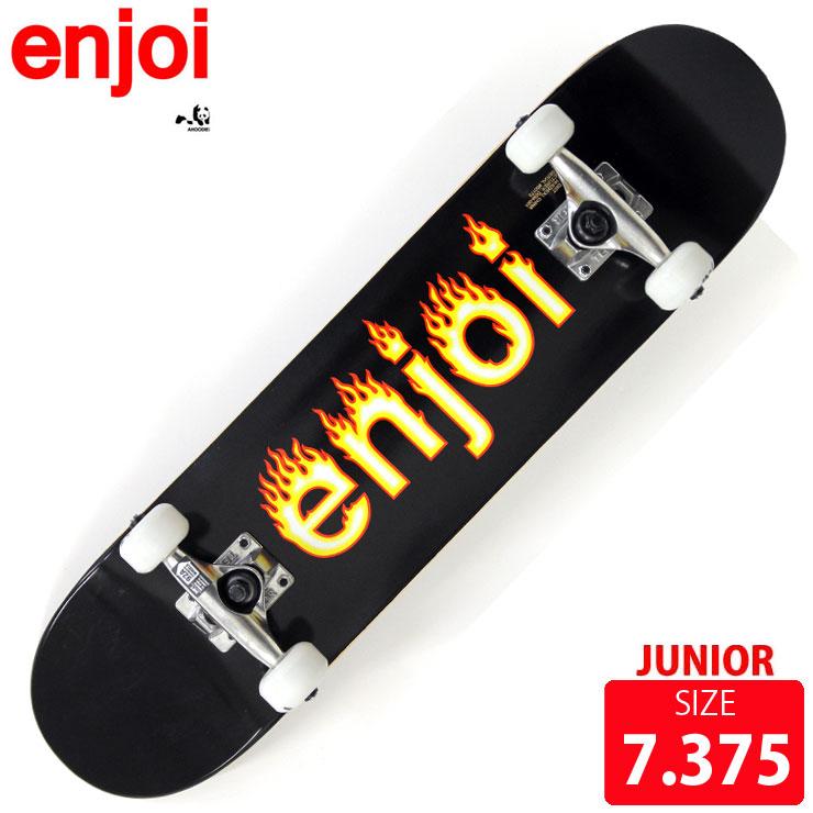 スケボー コンプリート ジュニア エンジョイ helvetica flame logo black DECK 7.25 インチ EJC-020 完成品 スケートボード