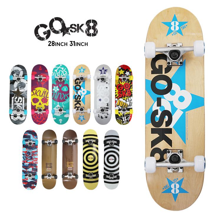 返品不可 初めてのスケートボードに最適 GOSK8 ゴースケ スケートボード スケボー コンプリート ジュニア 爆売り クエストン 完成品 28インチ 31インチ
