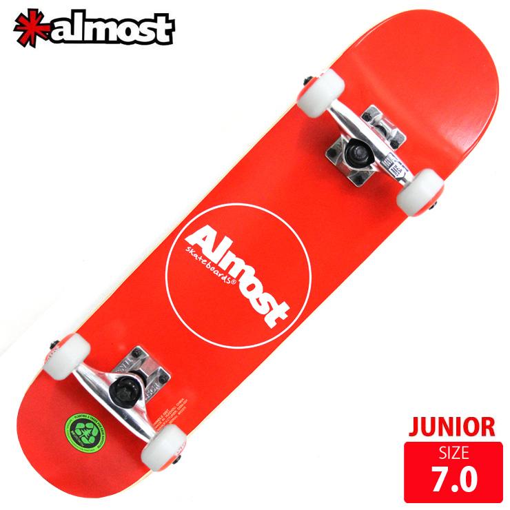 ALMOST オールモスト コンプリート THIN LINE RED DECK 7.0 完成品 キッズ用 スケボー スケートボード ジュニア