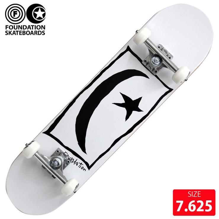 FOUNDATION コンプリート ファンデーション STAR&MOON SQUARE WHITE DECK 7.625インチ 完成品 スケボー スケートボード
