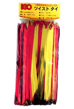 ペット・タイ Vカット 金/赤色 12mm×15cm 500本×20袋(1カートン)