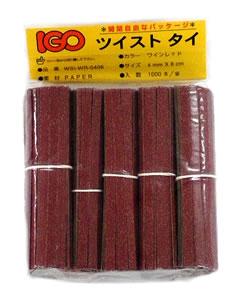 紙・タイ ワインレッド色 4mm×10cm 1000本× 50袋(1カートン)