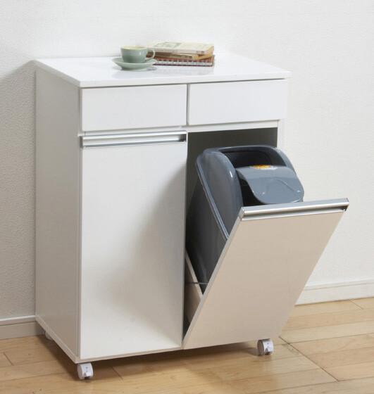 送料無料 ダイニングダストボックス2D ホワイト ダストボックス ゴミ箱 ごみ箱 キッチン収納 ごみ 分別 大型 キャスター キッチンカウンター リビング キッチンワゴン おしゃれ