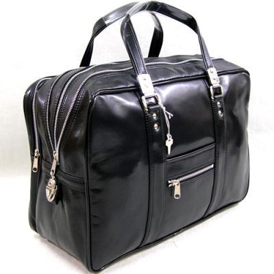 ガブロンY付銀行ボストンバッグ 45cm 鞄 トラベルバッグ ビジネス 銀行バック 銀行カバン 1から2泊 大容量 旅行ボストン バッグ 出張 おしゃれ シンプル ブラック
