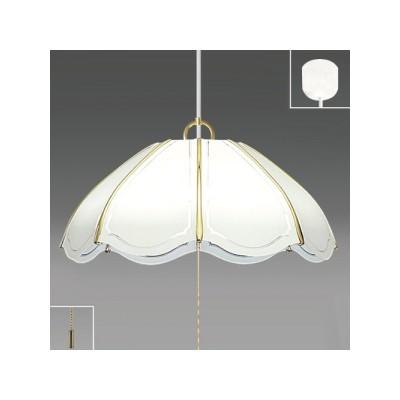 ペンダントライト洋風タイプ プラスチックセード(ホワイト絵柄入) 8畳用 プルスイッチ付 昼光色 EV80055