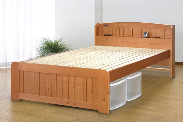 天然木パイン棚付きすのこベッド セミダブル ベッドフレーム単品 木製 高さ調整 スノコベット セミダブルベッド おしゃれ 北欧 モダン シンプル