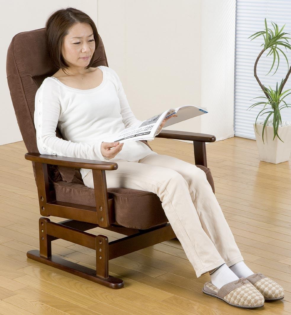 折り畳み式木肘回転高座椅子 座椅子 リクライニング 低反発 コンパクト 高さ調整 ハイバック 折りたたみ 和室 リビング ダイニング 居間 高齢者 父の日 母の日