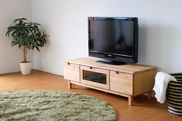 送料無料 TVボード 幅120cm ナチュラル アルダー無垢材 テレビボード ローボード ロータイプ 木製 天然木 引き出し 収納 コンパクト おしゃれ 北欧 モダン シンプル ミッドセンチュリー スタイリッシュ 高級感