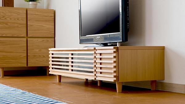 送料無料 TVボード 幅124cm テレビ台 アルダー無垢材 テレビボード ローボード ロータイプ 木製 天然木 引き出し 収納 コンパクト おしゃれ 北欧 モダン ミッドセンチュリー 高級感