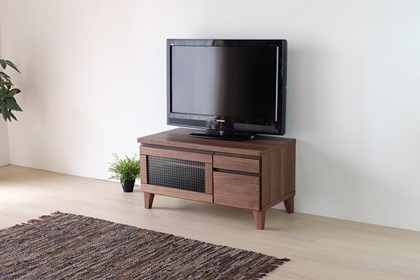送料無料 TVボード テレビ台 幅80cm ミディアムブラウン ウォルナット無垢材 テレビボード ローボード ロータイプ ガラス 木製 天然木 引き出し 収納 コンパクト おしゃれ 北欧 モダン ミッドセンチュリー 高級感
