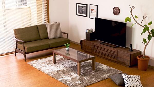 送料無料 完成品 TVボード テレビ台 幅180cm ミディアムブラウン ウォルナット無垢材 テレビボード ローボード ロータイプ 木製 天然木 引き出し 収納 おしゃれ 北欧 モダン シンプル ミッドセンチュリー 高級感