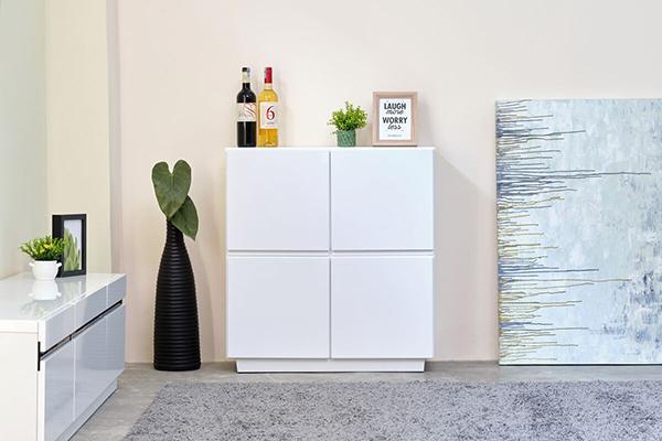 送料無料 リビングボード 幅76cm ホワイト 収納棚 完成品 木製 キャビネット リビングボード キッチン リビング収納 食器棚 本棚 おしゃれ 北欧 モダン シンプル 高級感
