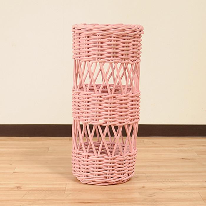 送料無料 ラタン家具 かさ立て ピンク 天然ラタン使用 かさ立て 傘立て アンブレラスタンド スリム アンブレララック かさたて 傘たて 傘入れ 円柱 円筒 玄関 インテリア おしゃれ アジアン