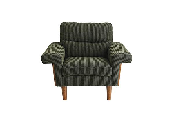 一人用ソファ モスグリーン コーデュロイ風生地 ウォールナット コンパクト ダイニングチェアー 食卓チェア いす 椅子 1人掛け 1人用 ソファー リビング アンティーク エレガント 高級感 おしゃれ