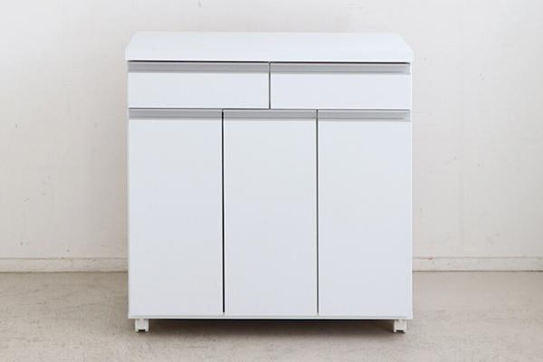 日本製 ペールストッカー ホワイト 白 幅82cm 3分別 フラップ式 キッチンカウンター 間仕切り ゴミ箱 ダストボックス キャスター付き 家具調 引き出し 収納 シンプル スタイリッシュ おしゃれ