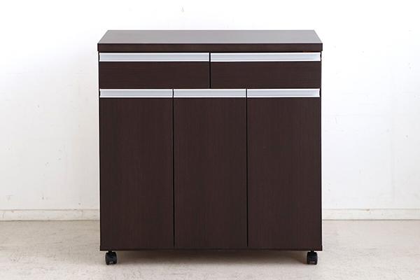 日本製 ペールストッカー ブラウン 幅82cm 3分別 フラップ式 キッチンカウンター 間仕切り ゴミ箱 ダストボックス キャスター付き 家具調 引き出し 収納 シンプル スタイリッシュ おしゃれ