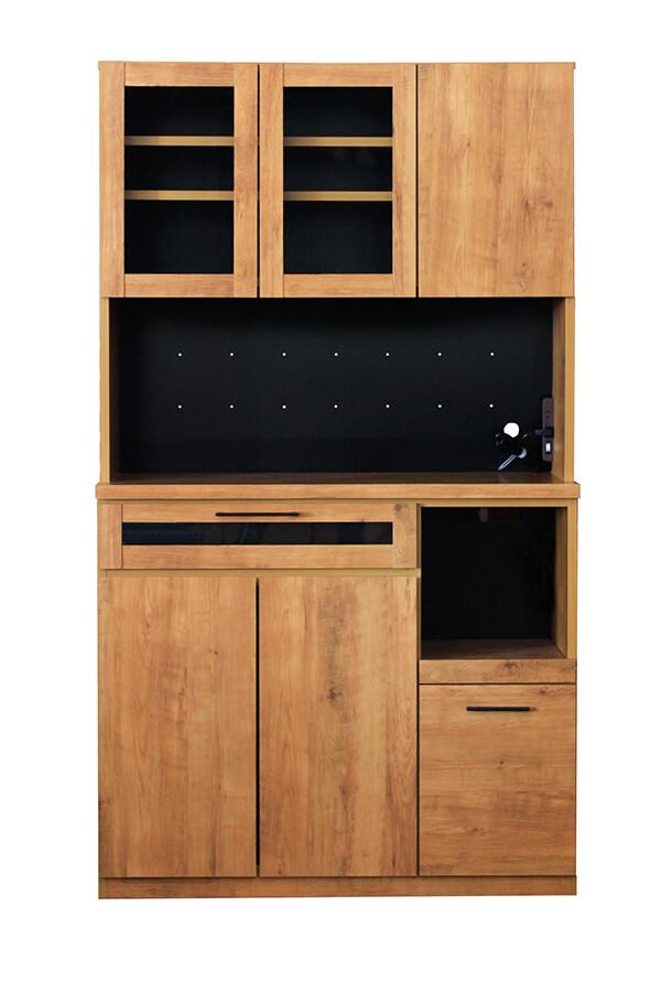 105キッチンボード 木製 食器棚 レンジ台 炊飯器収納 キッチン収納 カップボード 収納棚 ビンテージスタイル シンプル スタイリッシュ 男前インテリア おしゃれ 高級感