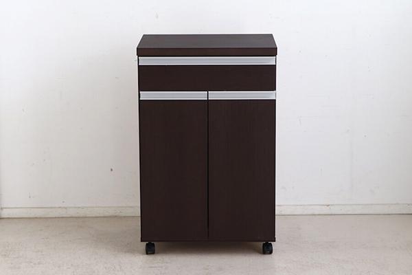日本製 ペールストッカー ブラウン 幅55cm 2分別 フラップ式 キッチンカウンター 間仕切り ゴミ箱 ダストボックス キャスター付き 家具調 引き出し 収納 シンプル スタイリッシュ おしゃれ