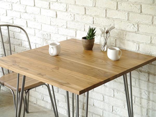 テーブル 単品 幅80cm エルム無垢材 スチール 机 ダイニングテーブル 食卓テーブル 2人掛け 2人用 作業台 カフェ アイアン 北欧 西海岸 ナチュラル ブルックリン 男前インテリア おしゃれ 高級感