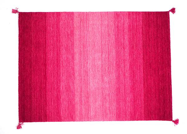 送料無料 ギャッべ ラグ オールシーズン ウール100% センターラグ リビングラグ Gradation ピンク 約140×200cm グラデーション マット ラグマット フリンジ 北欧 おしゃれ かわいい 高級感