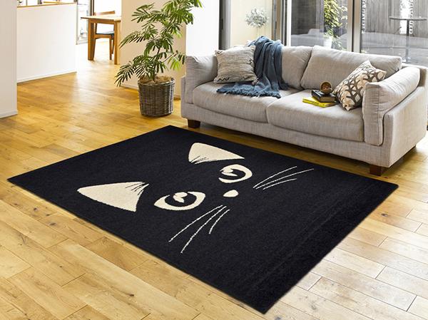 送料無料 ベルギー製 ウィルトン織ラグ 高密度 センターラグ リビングラグ マット ラグマット キャットミラー 猫 絨毯 約120×170cm かわいい モダン おしゃれ 高級感 北欧